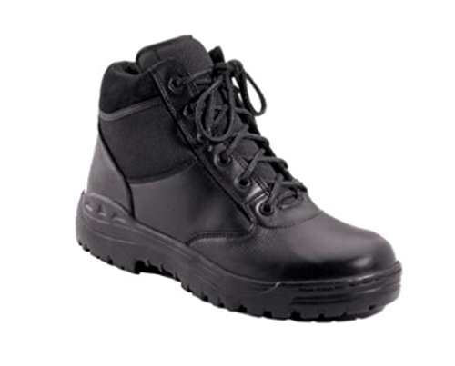 [EMT EMS PARAMEDIC FIRST RESPONDER POLICE BLACK 6'' LEATHER TACTICAL BOOTS] (Meteor Man Halloween Costume)
