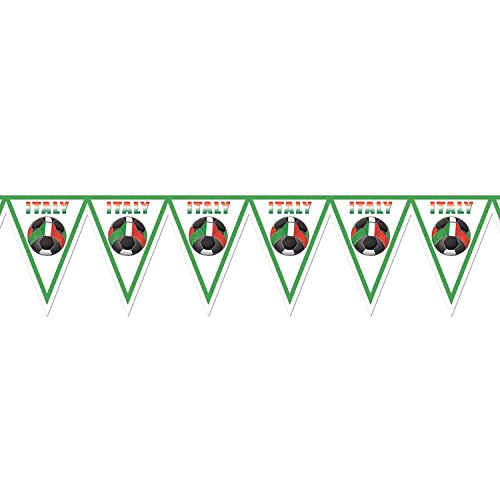Pack of 6 Red, Green and White ''Italy'' Soccer Themed Pennant Banner Party Decorations 7.4' by Party Central