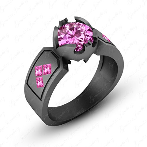 Sapphire Princess Pink Ring (Gemstar Jewellery Round & Princess Cut Pink Sapphire Black Gold Finish Harley Quinn Wedding Ring)