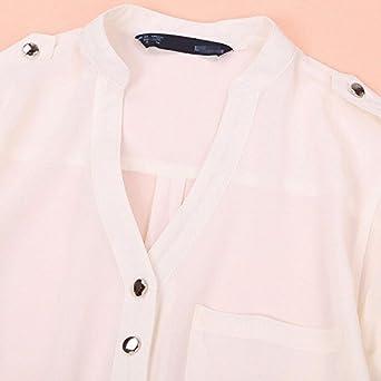 Newlyblouw Fashion Tops,Women Summer Chiffon Casual Solid Long Sleeve T Shirt V-Neck Pocket Blouse Tee