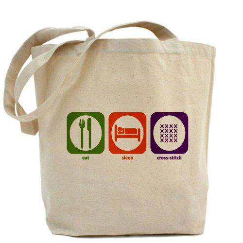 CafePress–Eat Sleep–Borsa di tela naturale, panno ricamato borsa per la spesa