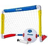 Franklin Sports Portería de fútbol para niños con Pelota y Bomba – portería Plegable de 24 x 16 Pulgadas – Ideal para Patio o Juego en Interiores