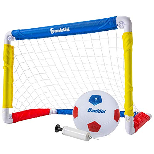"Franklin Sports Kids Soccer Goal with Ball & Pump - 24"" X 16"" Folding Goal - Great for Backyard Or Indoor Play"
