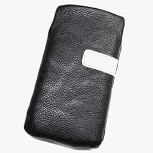 Duragadget-Funda de piel sintética con tapa para Samsung D900i M, color negro