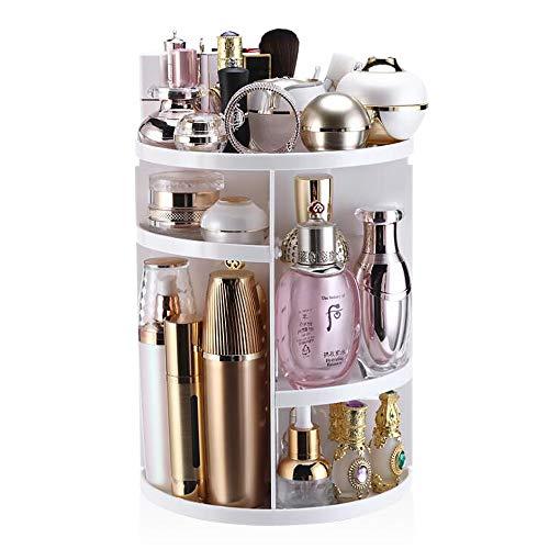 YASSUN 360° rotating cosmetic storage box, dressing table lipstick skin care desktop rack, DIY adjustable, large capacity, white