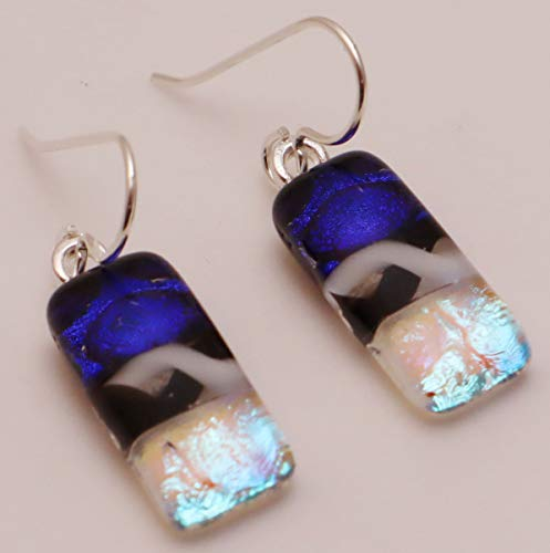 Fused Cobalt blue aqua Dichroic Glass dangle Earrings 925 Sterling silver ear wires #176 ()