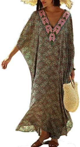 Bsubseach Women Loose Short Sleeve Swimwear Beach Caftan Dress Bathing Suit Cover Ups
