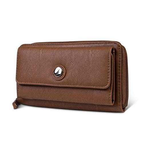 Nautica Bulk Cargo Womens RFID Wallet Clutch Zip Around Organizer (Earth)