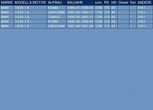 ETS-EXHAUST 50109 Silencieux arriere pour 3 E30 1.8 BREAK BERLINE 4 PORTES CABRIO 115//113hp 1987-1995 le kit dassemblage complet