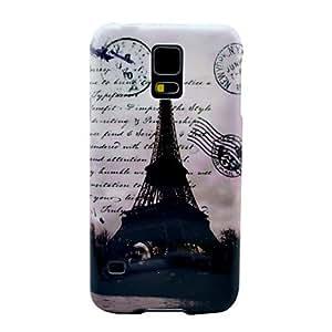 YULIN Famosa Torre Eiffel con el patrón de la carta de cubierta del estuche rígido para Samsung Galaxy i9600 S5