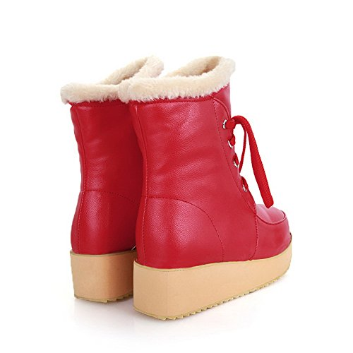 Amoonyfashion Girls Round Round Toe Kitten Tacones Pu Short Plush Solid Botas Con Plataforma Roja