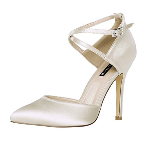 ERIJUNOR E2264 Women High Heel Ankle Strap Satin Dress Pumps Evening Prom Wedding Shoes Champagne 8 Cream Satin Shoes