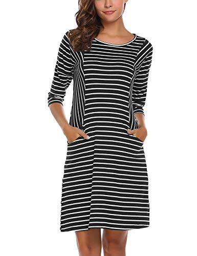 (UNibelle Women's Casual 3/4 Sleeve Striped Crew Neck Pockets Loose Dress(Black White,XX-Large))