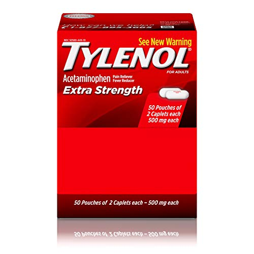 Tylenol Extra Strength Caplets with Acetaminophen, Pain Reliever & Fever Reducer, 2-caplet of 50 ct ()