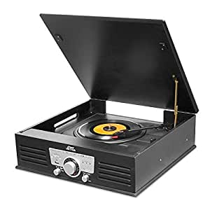 PYLE PTT25UBT Bluetooth Classic Style Record Player Turntable with Vinyl to MP3 Recording, USB/SD Card Readers & AM/FM Radio