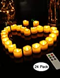 HOME MOST Set of 24 LED Votive Candles Remote (1.5'' D x 1.5'' H, 4/5/6/8 Hour Timer) - Votive Candles Battery Operated Candles Flickering Flame Timer - Wedding Decorations Reception