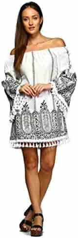 3c82dbf7b00 Velzera Women's Off The Shoulder Damask Fringe Tunic Mini Dress Boho Chic  reg & Plus Size
