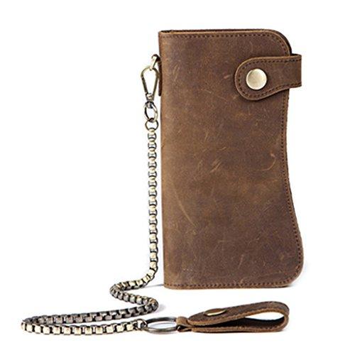 - Numkuda Men's Chain Wallet Bifold ID Card Holder Purse Checkbook Long Clutch Billfold (Brown)