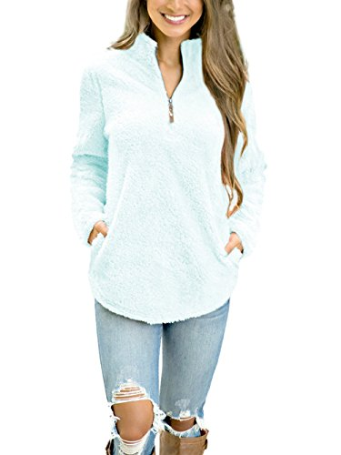 Dongpai Women's Fleece 1/4 Zip Long Sleeve Pullover Sweatshirt Solid Loose Jacket Coat