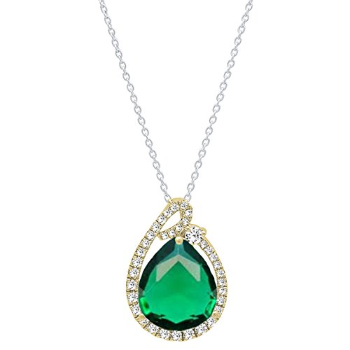 (Dazzlingrock Collection 18K 12X10 MM Pear Lab Created Emerald & Round Diamond Ladies Pendant, Yellow Gold)
