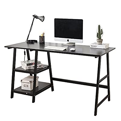 Soges 55 inches Computer Desk Trestle Desk Writing Home Office Desk Hutch Workstation with Shelf, Black CS-Tplus-140BK-N - Contemporary styling, can be used at home or in office, easy to match. Overall Dimensions: 55.1 x 23.6 x 29.5 inch (L x W x H). Max weight capacity: 222lbs 15 mm thickness wood pressing board with black wood finish, constructed of high quality metal frame. - writing-desks, living-room-furniture, living-room - 41pjNujXI%2BL. SS400  -