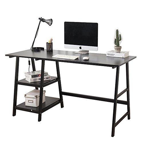 "Soges Computer Desk Trestle Desk Writing Home Office Desk Hutch Workstation with Shelf, Black 55"" CS-Tplus-140BK"