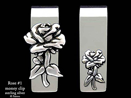 Rose Flower Money Clip in Solid Sterling Silver Hand Carved, Cast & Fabricated by Paxton by Paxton Jewelry