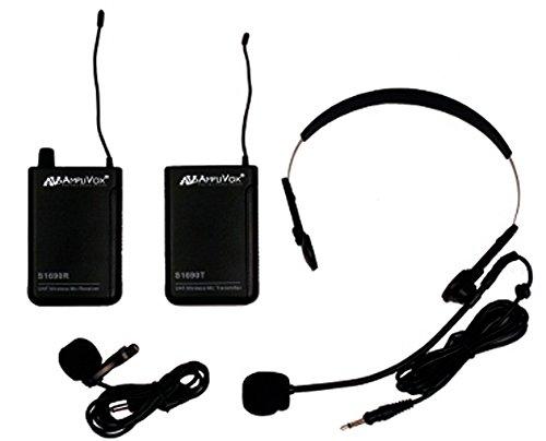 Kit Lapel Wireless Microphone (Amplivox S1601 UHF Wireless Headset/Lapel Microphone with 16-Channel Kit Receiver)