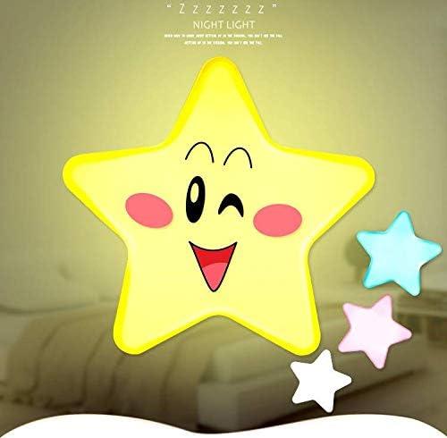 Luz de noche para ni/ños luz de forma de estrella peque/ña Enchufe de pared Luz de noche para ni/ños Luces de sue/ño para ni/ños Luz de decoraci/ón del dormitorio enchufe de la UE blanco