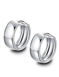 Rolove Charming Women's 925 Sterling Silver Circle Ear Plain Smooth Hoop Huggies Earrings Ear Stud