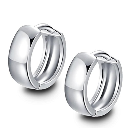 Rolove Charming Women's 925 Sterling Silver Circle Ear Plain Smooth Hoop Huggies Earrings Ear Stud, Mother's Day (Diamond Fashion Love Huggie Earrings)