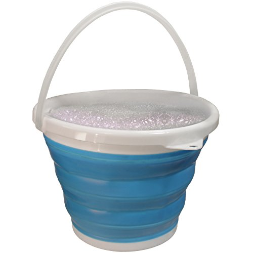 10l Bucket - iGadgitz Home U6852 Silicone Collapsible Bucket 10L/2.1 Gallons Folding Bucket for Home Use, Outdoor, Camping, Fishing, Travel, Gardening – Blue