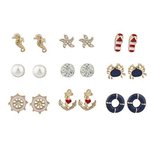 Tone Crystal Pearl Red White Blue Nautical Earring Set (Anchor Stud Earrings)