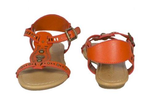 Jorca! Door De Stad Geclassificeerde Open Teen T-strap Uitgesneden Bezaaid Strappy Platte Sandaal In Diep Oranje Kunstleer