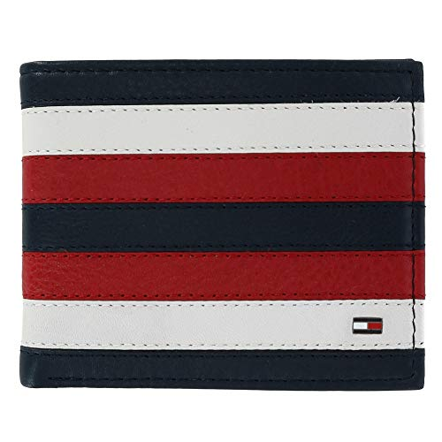 White Mens Wallet - Tommy Hilfiger Men's Carmine Leather Red White and Blue Passcase Bifold Wallet, Red, White, and Blue