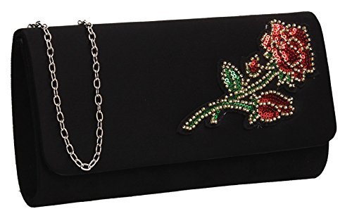 Miami Suede Womens Rose Party Prom Wedding Clutch Bag - SWANKYSWANS Black