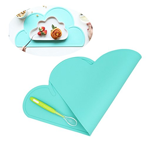 Silicone Baby Placemat - Kids Reusable Travel Placemat Tiny Diner Portable Roll Up Washable Restaurant Food Meal Mat for Toddler Child infant including spoon (Light Teal) (Placemat Restaurant)
