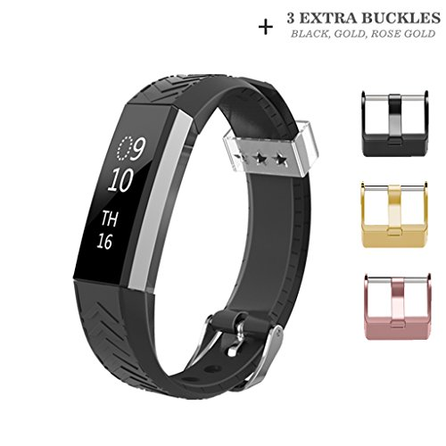 Fitbit Alta HR and Alta Band, AIUNIT Fitbit Alta Accessory Bands Watch Buckle Design Replacement Bands Small/Large for Fitbit Alta HR Wristbands Suitable for Women Men Boys Girls-Black