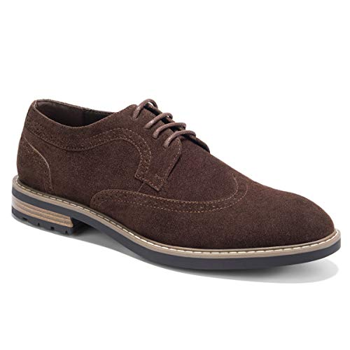Men's Suede Oxfords Dress Shoes Lace-Up Wingtip Brogue Oxford Shoe Zapatos de Hombre Dark Brown ()