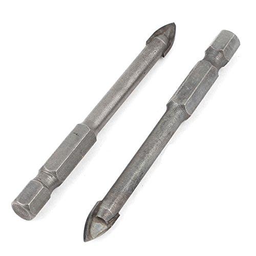 6mm Width Carbide Tip Hex Shank Mirror Glass Tile Drill Bit 2 Pcs