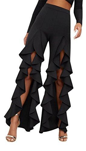 Speedle Women Sexy High Waist Ruffled Trim Split Wide Leg Flared Bell Bottom Long Dancing Party Pants Black S