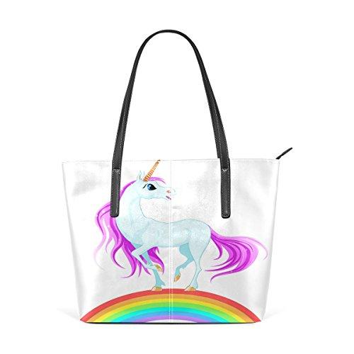 Coosun Blue Unicorn On Rainbow Pu Leather Handbag Bags Purse And Tote Bag For Women Means Muticolour