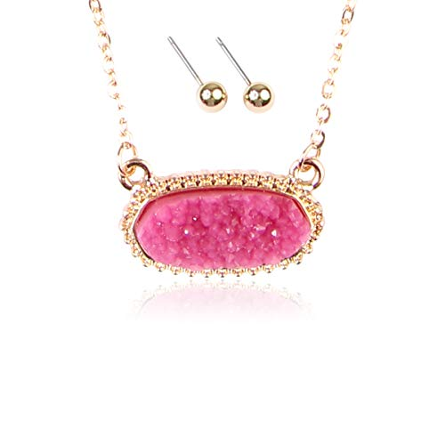 RIAH FASHION Acrylic Faux Druzy Jewel Stone Hexagon Oval Pendant Necklace - Delicate Chain/Sparkly Crystal Beaded Strand (Oval Hexagon Chain - Hot -