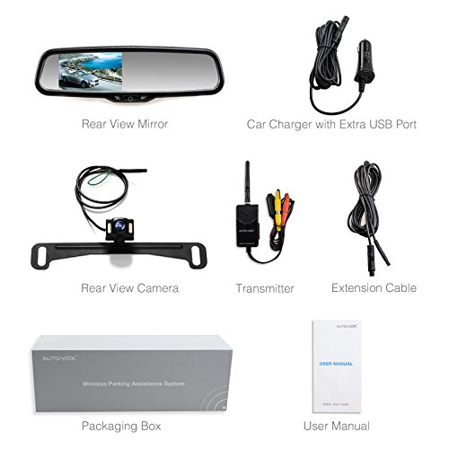 lowest price auto vox wireless backup camera kit with hd rearview mirror monitor and ip 68. Black Bedroom Furniture Sets. Home Design Ideas