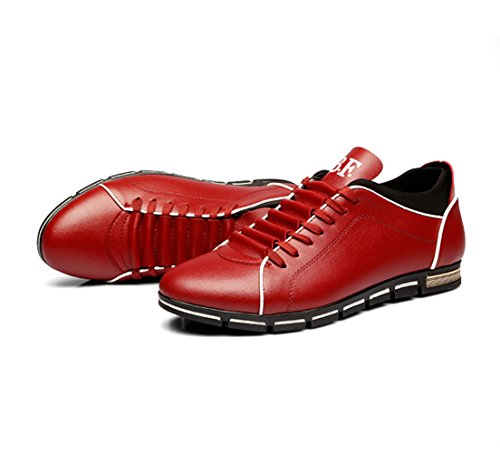 De 5 Casual Richelieus Chaussures Hommes Baskets Cuir 5 Tennis Baskets Mocassins En PU 13 UK CUSTOME Rouge f0qxUwAx
