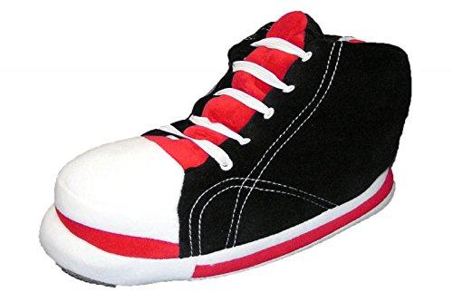 Riesen Sneaker Hausschuhe Plüsch Schwarz 41-46