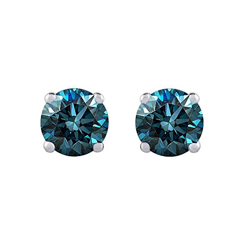 1 ct. Blue – I1 Round Brilliant Cut Diamond Earring Studs in 14K White Gold