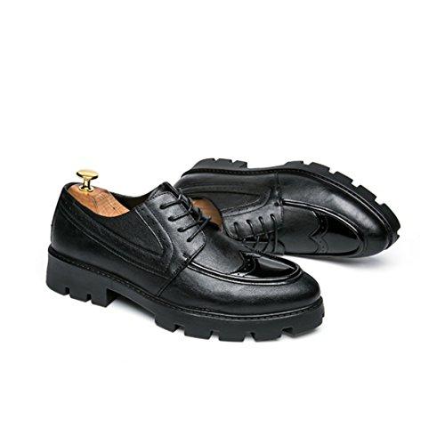 LYZGF Hommes Jeunes Affaires Occasionnels Mode Respirant Pointu Dentelle Chaussures En Cuir Black zkrON9c