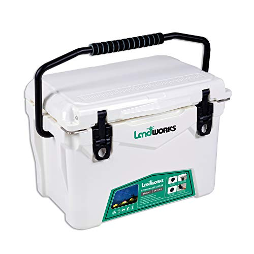 Landworks Rotomolded ENHANCED Ice Cooler 20QT Up to 10 Day Ice Retention Commercial Grade Food Safe Dry Ice Compatible UV Protection 15mm Gasket Bottle Openers Vacuum Release Valve Lo Profile Latches (Cooler That Keeps Ice For 10 Days)