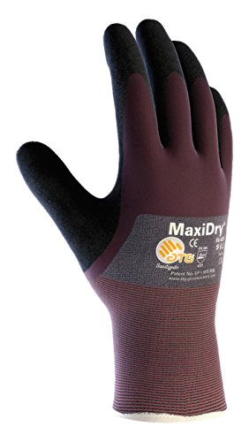 MaxiDry 56-425/S Ultra Lightweight Nitrile Glove, 3/4 Dipped with Seamless Knit Nylon/Lycra Liner and Non-Slip Grip on Palm and Fingers